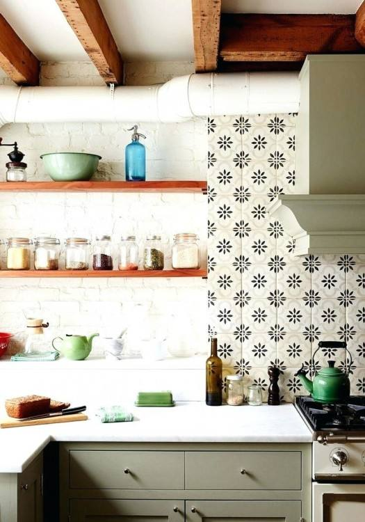 mid century modern tile backsplash