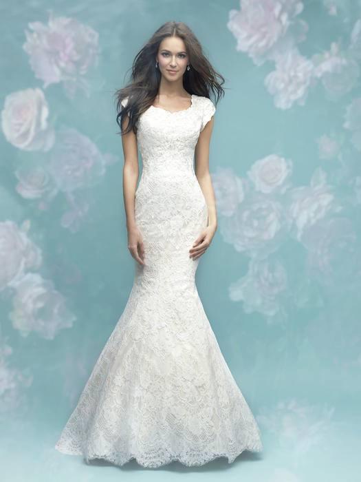 Allure Modest M593 Blouson Style Sheath Wedding Dress