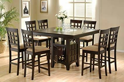 Color: 9pcs Contemporary Black Counter  Height Dining Table & 8 Stools Set
