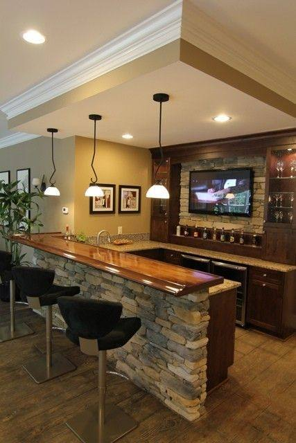 Interior : Beautiful Basement Wet Bar Design Using Grey Marble Countertop  Also Brick Stone Wall Plus Glass Pendant Lamp How to Build Basement Bar  Ideas in