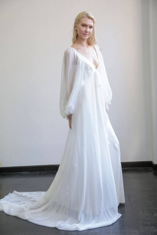 Discount 2018 Asaf Dadush Boho Wedding Dresses Applique Sequins Beaded Side Split Beach Chiffon Flowy Skirt Backless Plus Size Wedding Bridal Dress Online