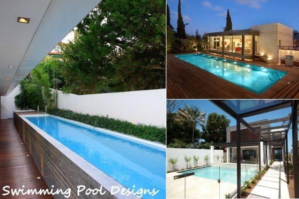 Stunning Modern Pool Design In Ground Pool Design Dark Colored Walls Outdoor Furniture Dark Staircase