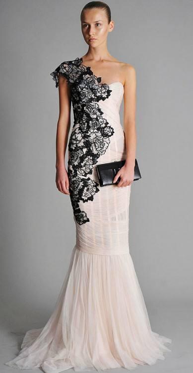 White Wedding Dress With Black Lace Overlay