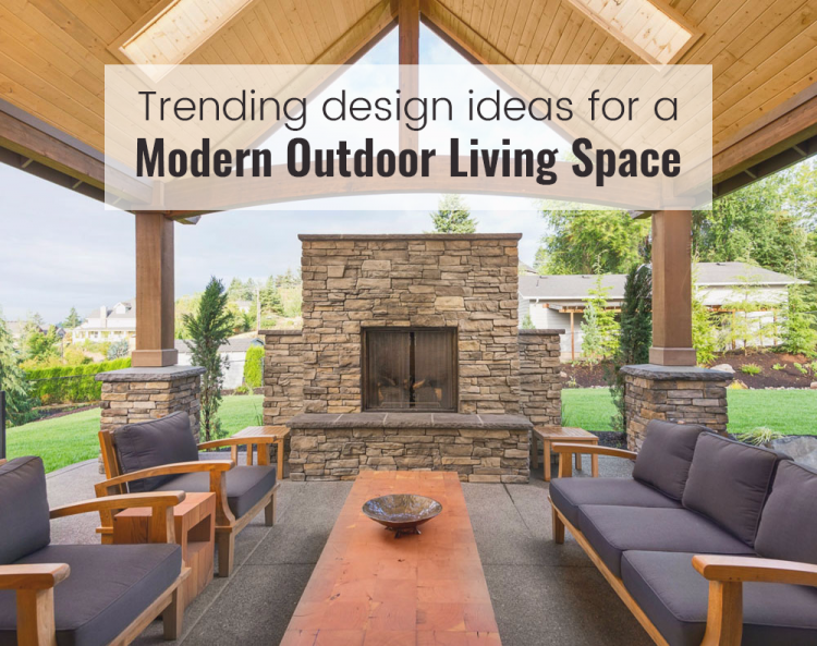 home in a living room as outside under a barbecue area? The fireplace  flanked by open views on either side will provide warmth to guests  snuggling