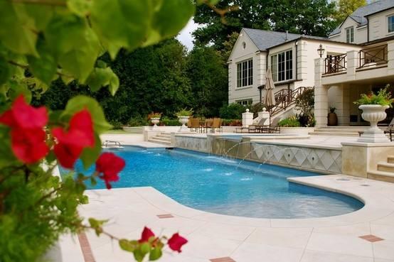 Backyard Pool Designs Landscaping Pools Freeform Pool With Bridge  Raised Spa Stone Deck Artistic Pools Ga
