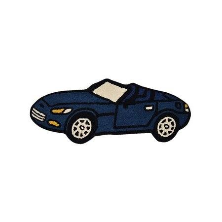 Non Slip Blue Kids Speed Racer Car Area Rug Baby Play Mat 100x150 cm
