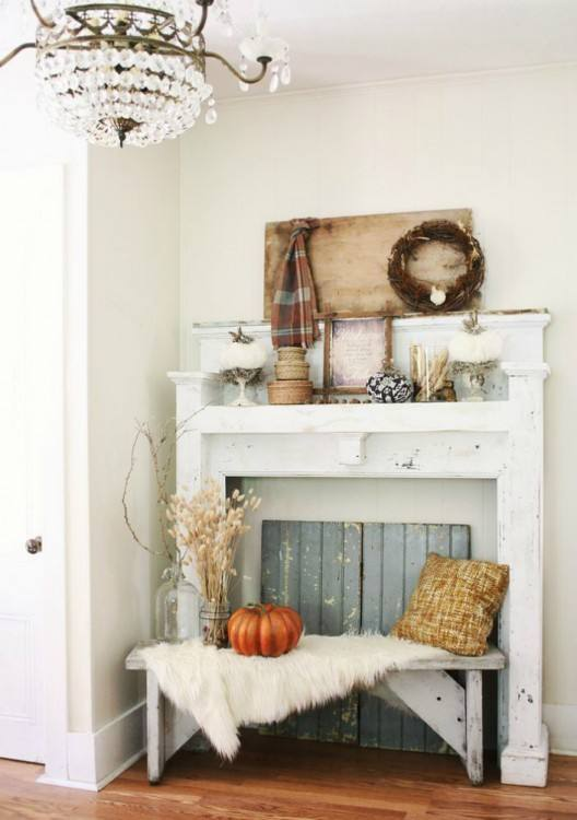 Ideas for traditional fall porch decor using mums, pumpkins and cornstalks