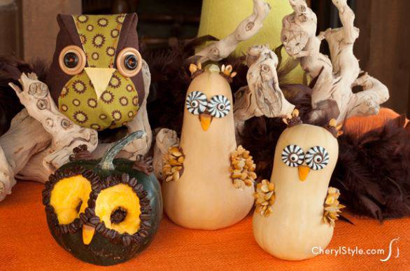 Use small pumpkins and gourds for bodies and attach sunflower seeds, feathers,