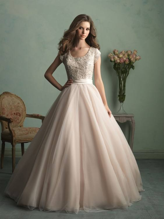 Allure Modest, M533; This timeless ballgown features a lacy bodice paired with layers of dreamy tulle