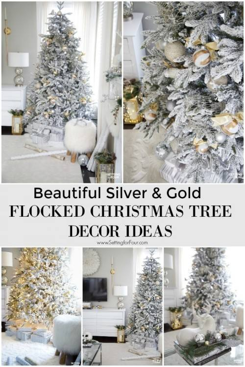 Beautiful Silver & Gold Flocked Christmas Tree Decorations